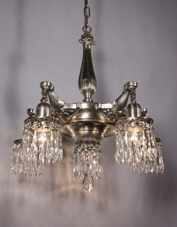 Stunning Antique Neoclassical Five Light Silver Plated
