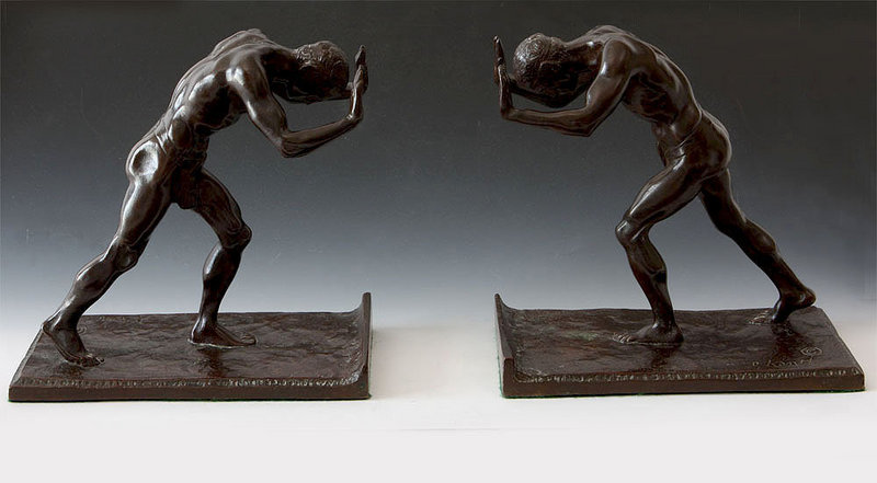 Pair Bronze Bookends Isadore Konti For Sale Antiques