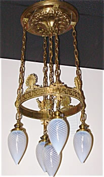 Antique bullet chandelier art nouveau style for sale antiques an american antique brass chandelier with 5 period blue swirl bullet globes the brass art nouveau frame with greek key design and anthenioms aloadofball Image collections