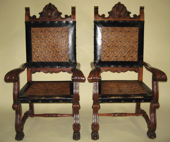 Incroyable 19th Century Pair Of French Renaissance Leather Embossed Armchairs   For  Sale