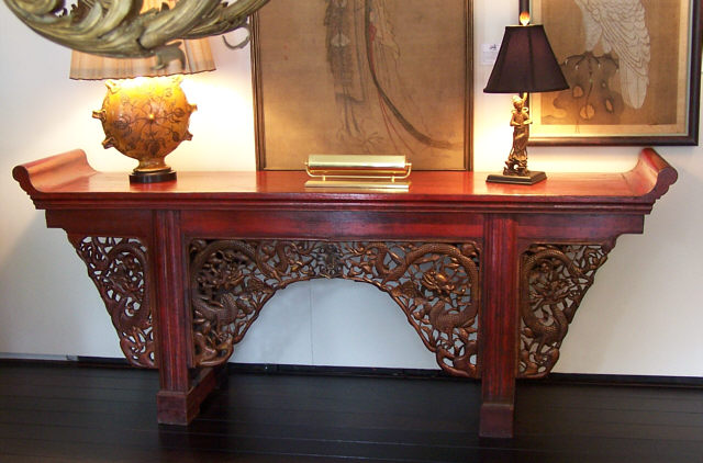 Chinese Altar Table With Original Red Paint C1800. This Antique Chinese  Table Features Gold Lacquered Carved Apron Decorations Of Mythological  Dragons ...