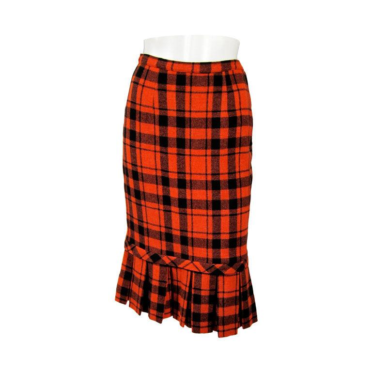 vintage 1950 s plaid pencil pleated wool skirt for sale