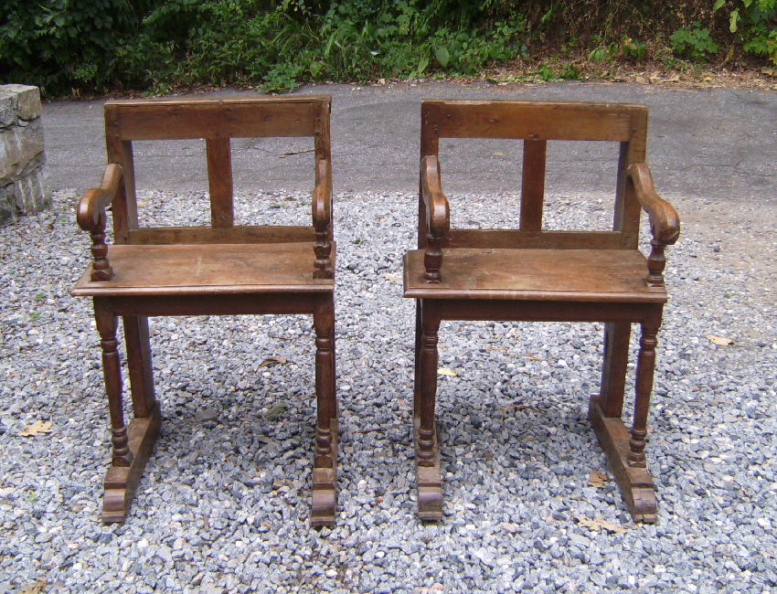 Pair Of Early Primitive French Church Chairs C1700 Item 7624 For Sale