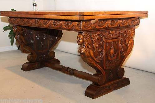 Awesome Deeply Carved Oak Table Extended With Parquetry Top. 19th Century, Solid  Oak And All Original. Featuring An Intricately Curved Apron And A Hand  Carved ...