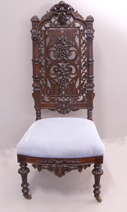 Victorian gothic rosewood hand carved slipper chair c1850 for Victorian gothic chair