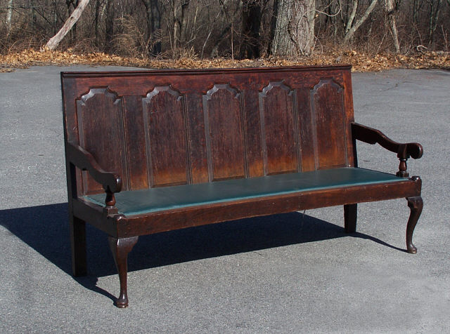 Early Country English Oak Coachmans Bench With Arms C1750