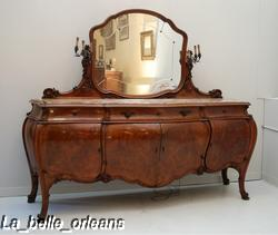 Stunning Burled Walnut Bombe Sideboard Inset Marble Top