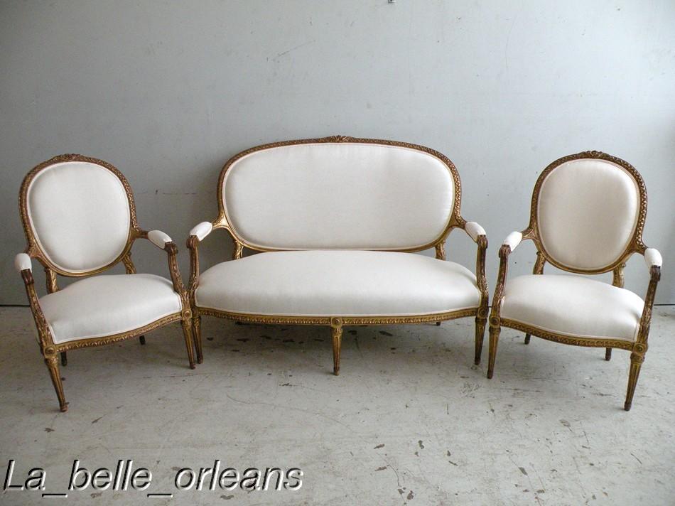 FINE 1860-1880 3 PC. FRENCH LXVI GILT SALON SUITE - For Sale - FINE 1860-1880 3 PC. FRENCH LXVI GILT SALON SUITE For Sale