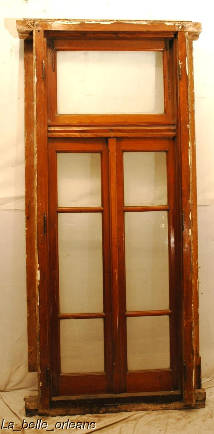 Fine window door with transom and original frame for for Windows doors for sale