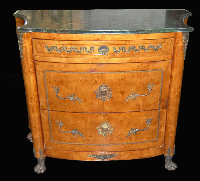 Continental Birds Eye Maple Commode   For Sale