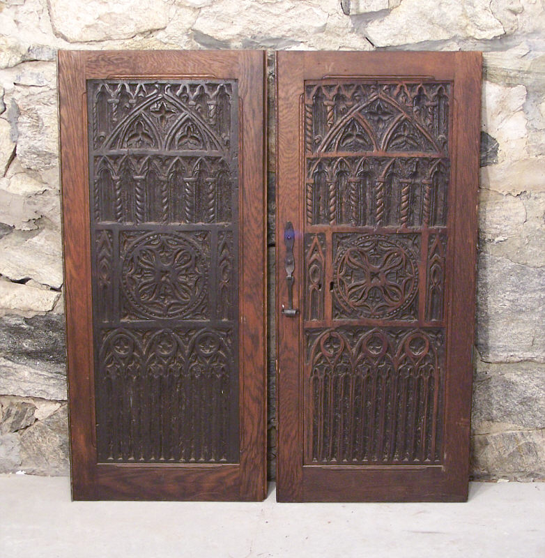 Pair 16th century renaissance carved wood door panels for Entrance doors for sale