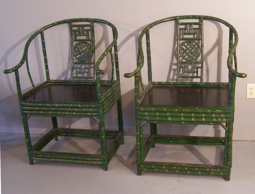 Chinese chippendale style horseshoe back armchairs item for Antique chinese furniture styles