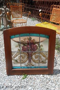 Gorgeous Stained Glass Window w Wooden Frame (9183722)
