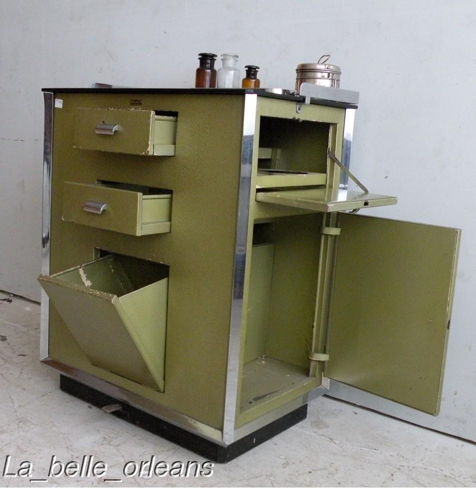 One of a kind , Mid Century Industrial cabinet for medical or lab use. Made  all in metal, chromed metal and black glass top. All original!! - RARE MID CENTURY INDUSTRIAL MEDICAL CABINET. MUST SEE!! For Sale