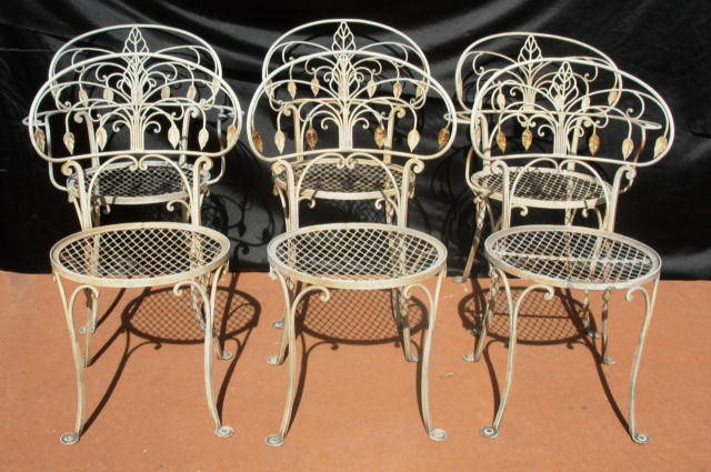 salterini wrought iron furniture. wrought iron dining chairs salterini style for sale furniture