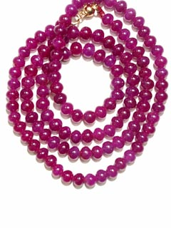 necklace composed of genuine ruby with a 14 karat