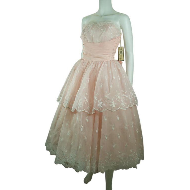 1950 blush pink white shelf bust layered prom wedding for Blush wedding dress for sale