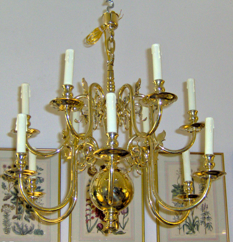 A handsome 18th C. Dutch-style baroque manner 2-tier, 12 light solid brass  chandelier, with turned baluster supporting