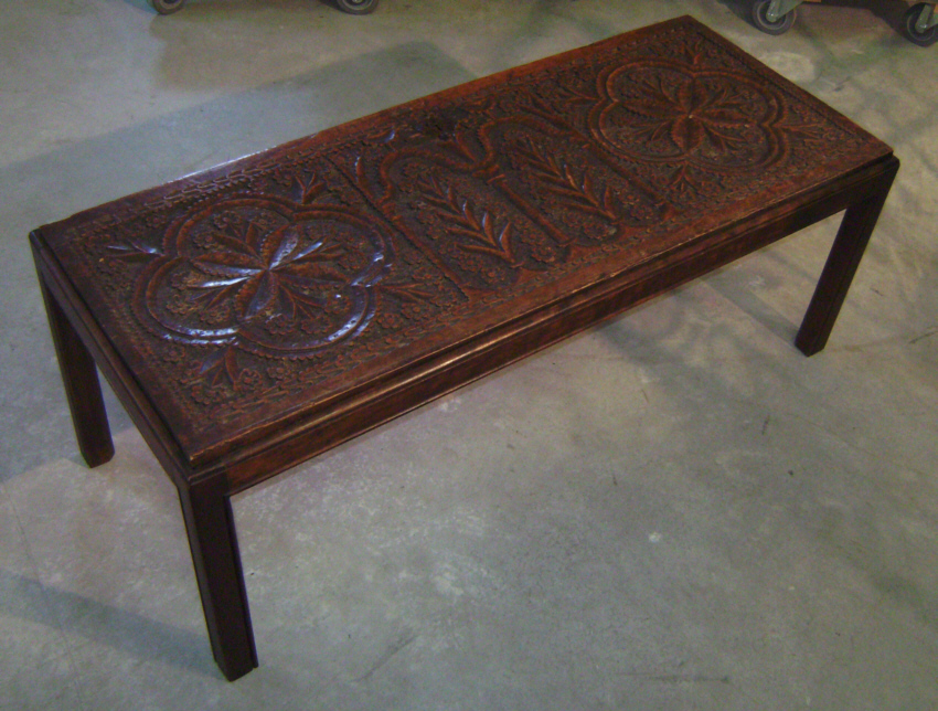 English Coffee Table Made From 17thc Mule Chest Panel