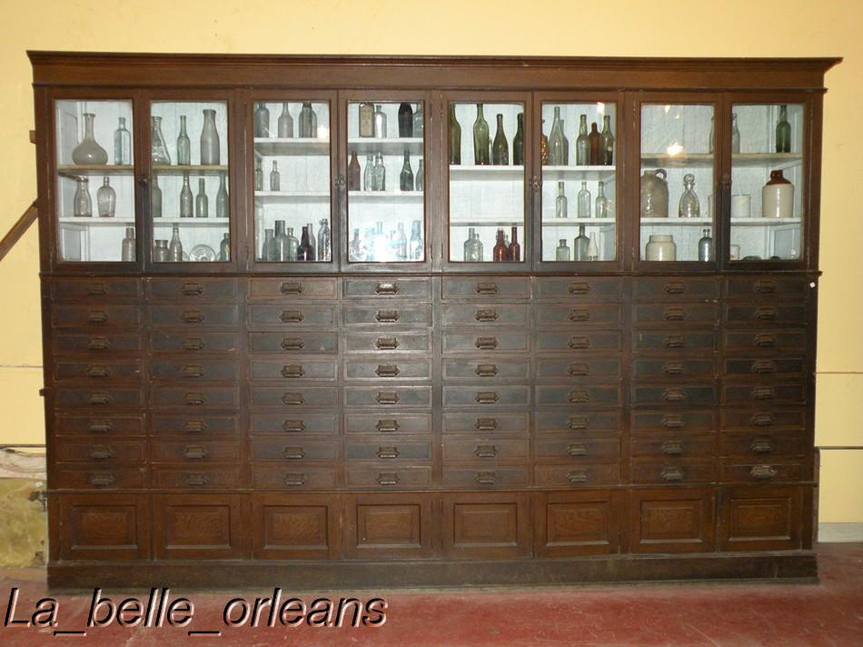 Comprising of 3 huge wall cabinets. The cabinets are in fantastic shape,  with no missing drawers or hardware, see detailed pictures of hardware, ... - RARE!! APOTHECARY/GENERAL STORE WALL CABINETS 24 LN FT! For Sale