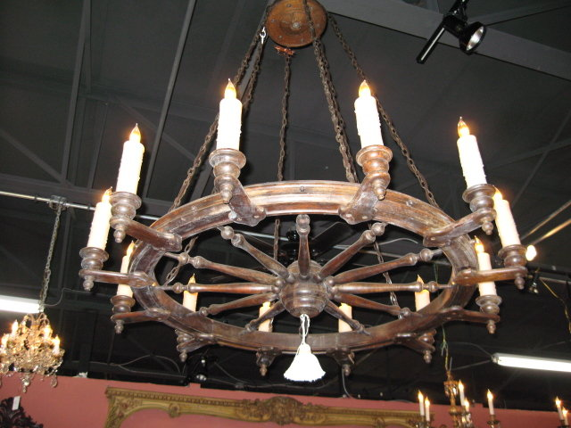 A charming french antique ships wheel chandelier for sale a charming french antique ships wheel chandelier for sale mozeypictures Gallery