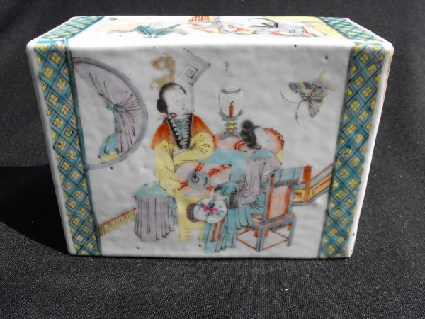Antique Chinese Porcelain Pillow With Figural Design