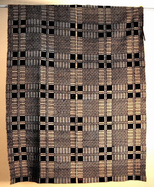 Antique black Jacquard Loom Woven Coverlet : Item # 2140 For