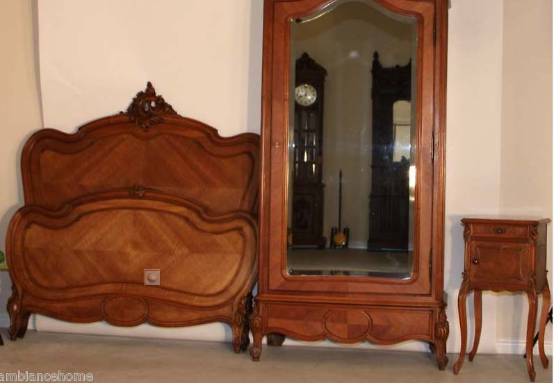 Ravishing bedroom set antique french louis xv carved for for Antique bedroom furniture