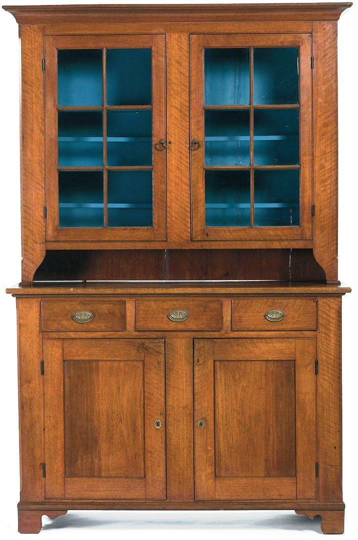 One Very Fine 19th C American Chippendale Pennsylvania Walnut Step Back  Cupboard - For Sale - One Very Fine 19th C American Chippendale Pennsylvania Walnut Step