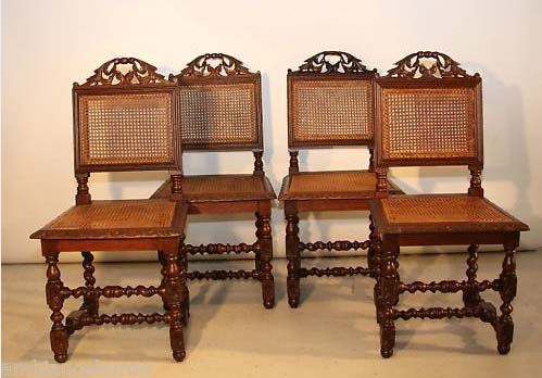Charming Appealing Set Of Four Cane Dining Chairs Antique French   For Sale