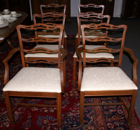 Set Of Six Ribbon Back Mahogany Dining Room Chairs For Sale