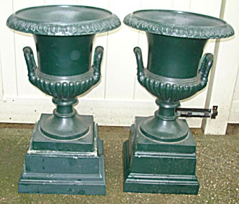 Pair Of Signed Cast Iron Campana Shaped Garden Urns By J L Mott, 264 Waters  St N. Y. The Urns Are In Great Condition. Antique Garden U0026 Architectural