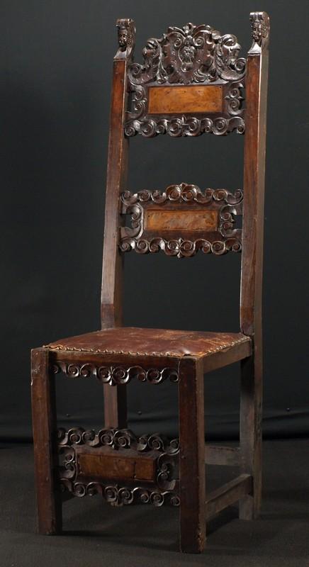 A carved walnut renaissance chair, Italian, early 17th century - For Sale - A Carved Walnut Renaissance Chair, Italian, Early 17th Century For