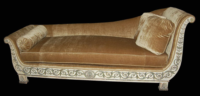 Superb directoire chaise lounge for sale for Antique chaise lounges for sale