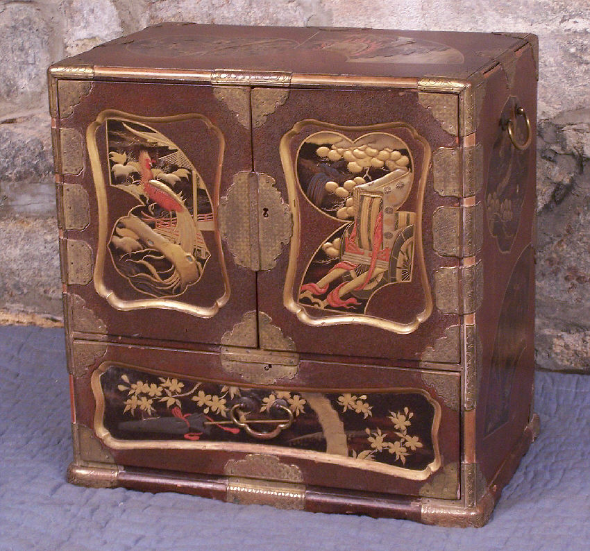 Lacquer Sage-Dansu, Meiji Period, of rectangular form, with two hinged  doors opening to two columns of three drawers, the whole above a larger  deep drawer, ... - Japanese Lacquer Sage Dansu Box Meiji Period : Item # 6804 For Sale