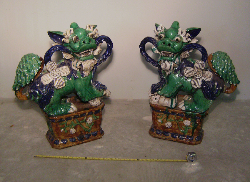 Antiques Foo Dogs With Large Ears