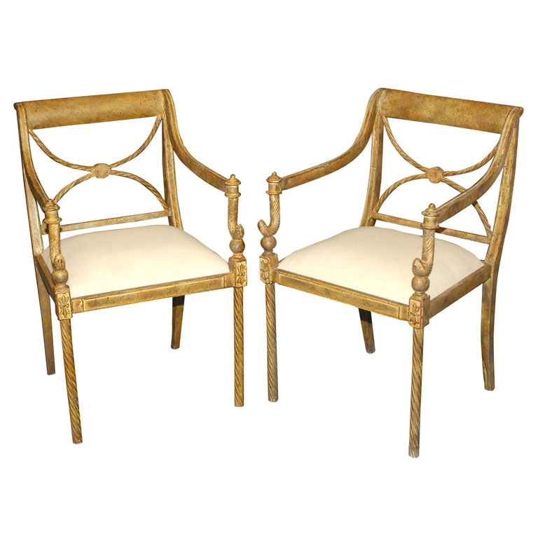 REGENCY STYLE GARDEN CHAIRS   For Sale