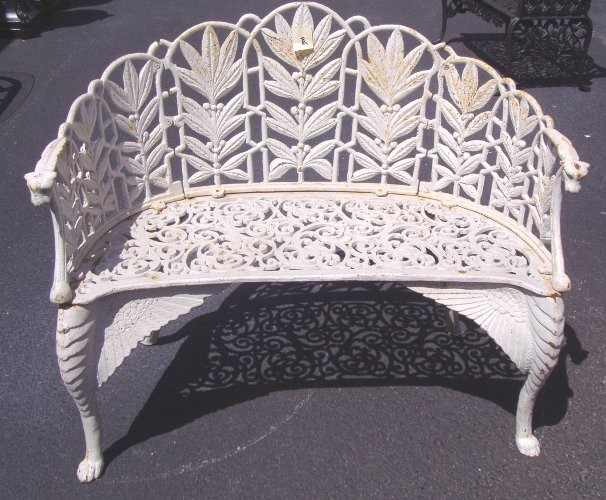 Loveseat white cast iron dd263 for sale antiquescom for White iron garden furniture