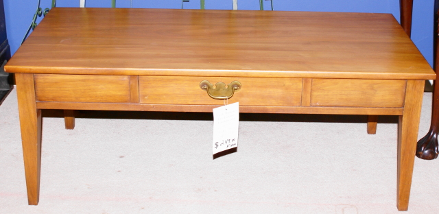 Henkel Harris Solid Cherry One Drawer Coffee Table   For Sale