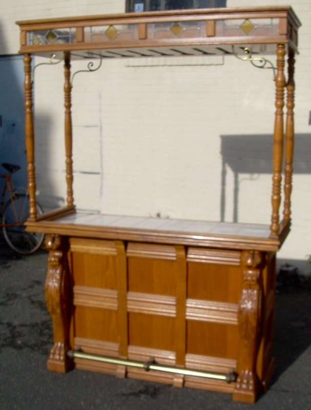 Counter For Sale : Carved oak bar w/tile counter For Sale Antiques.com Classifieds
