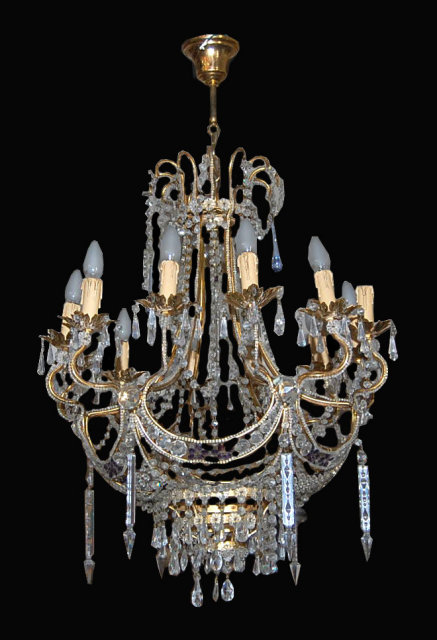 19th Century Crystal Chandelier For Sale