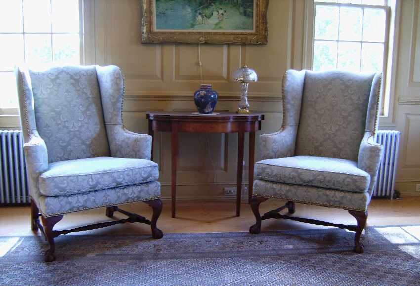 Pair Baker museum reproduction upholstered Queen Anne wing chairs   Item    7518   For SalePair Baker museum reproduction upholstered Queen Anne wing chairs  . Antique Queen Anne Upholstered Chairs. Home Design Ideas