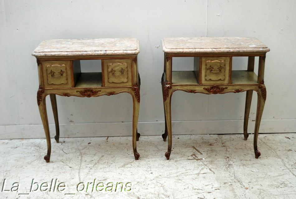 Attractive SUPERB PAIR OF FRENCH LXV NIGHT/END TABLES MARBLE TOP   For Sale