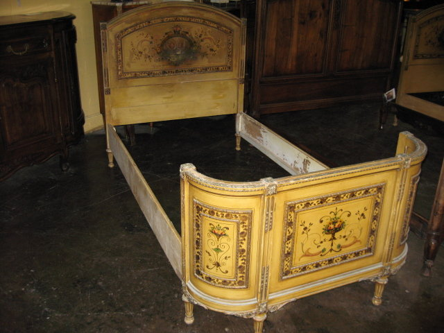 a decorative pair of antique french painted twin beds for sale