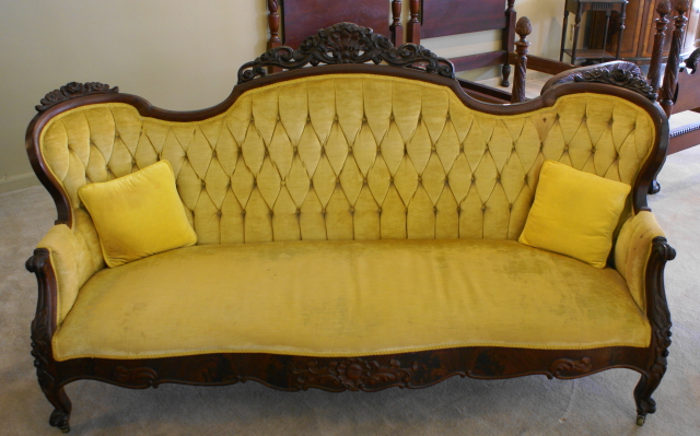 Nice tufted back victorian mahogany sofa for sale for Tufted couches for sale