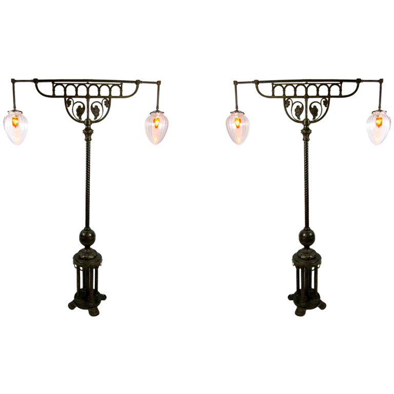 European Pair Of Double Lighted Torchieres 77 Tall For
