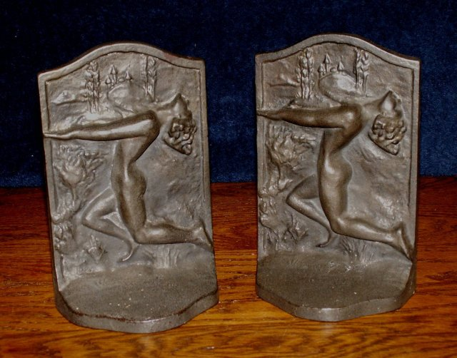 art deco bookends with lady for sale antiques com