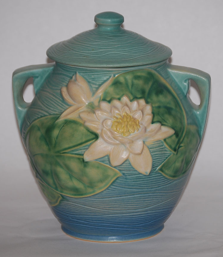 Roseville Pottery Water Lily Blue Cookie Jar For Sale Classi