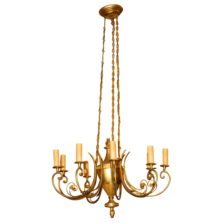 SWEDISH NEOCLASSICAL STYLE CHANDELIER For Sale