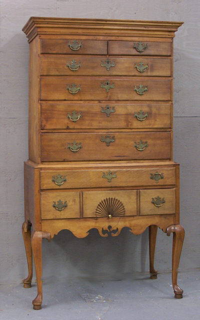 Period American Country Two Piece Flat Top Highboy Item